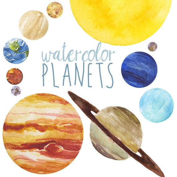 Watercolor clip art set. Planets clipart painting
