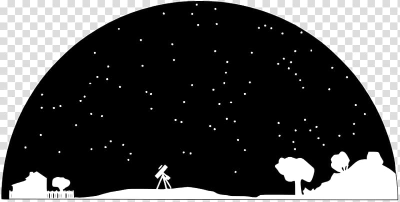 Trees and telescope illustration. Astronomy clipart universe
