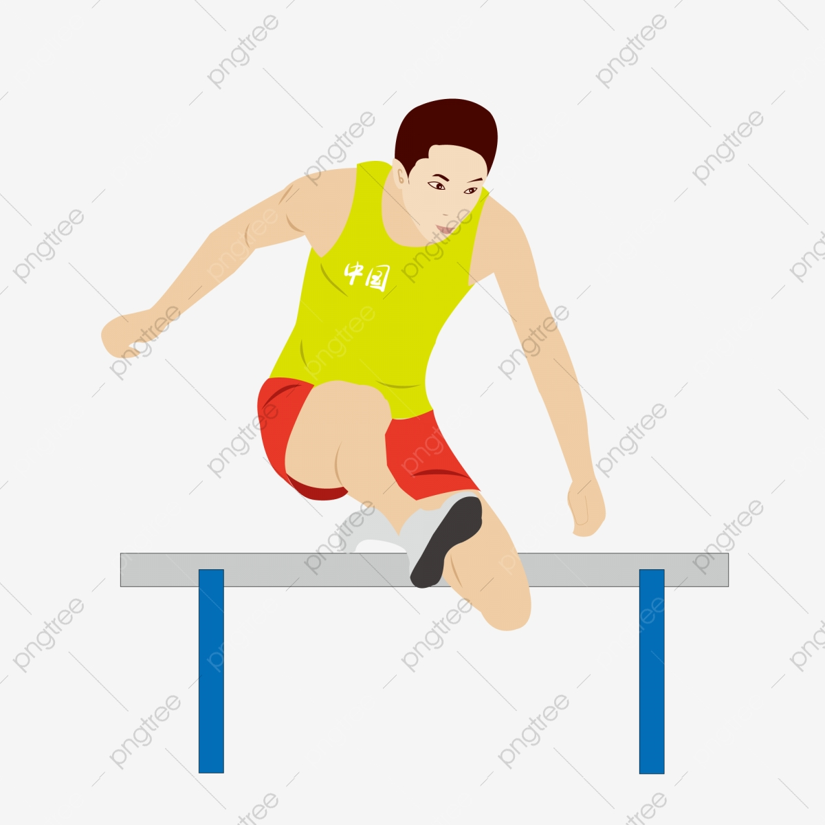 Athlete clipart 100m. Cartoon chinese hurdler free