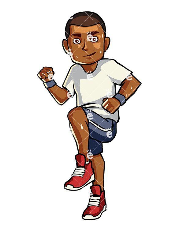 A black man running. Runner clipart cardio exercise