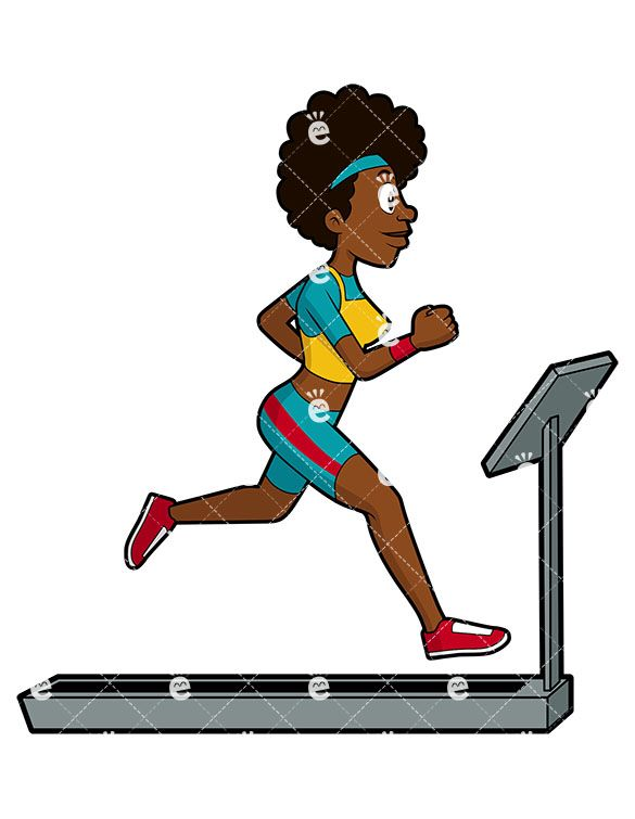 A black female running. Exercise clipart african american