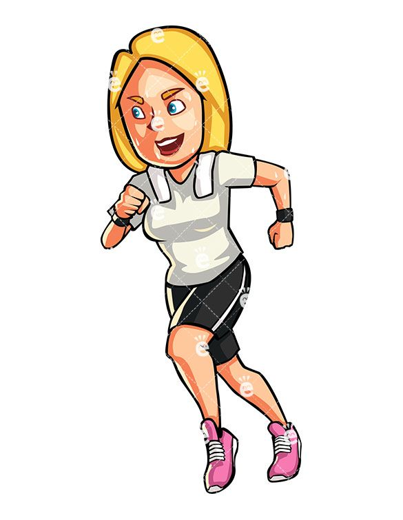 A blonde woman jogging. Athletic clipart exercise