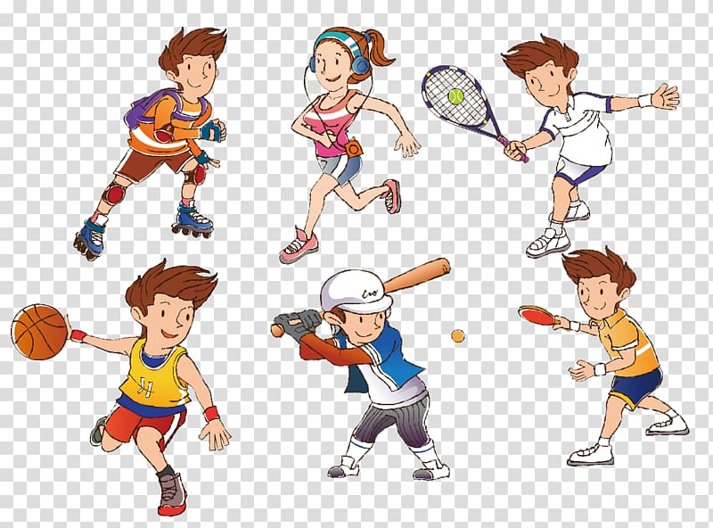 Athletic clipart athletics games. Six people with sports