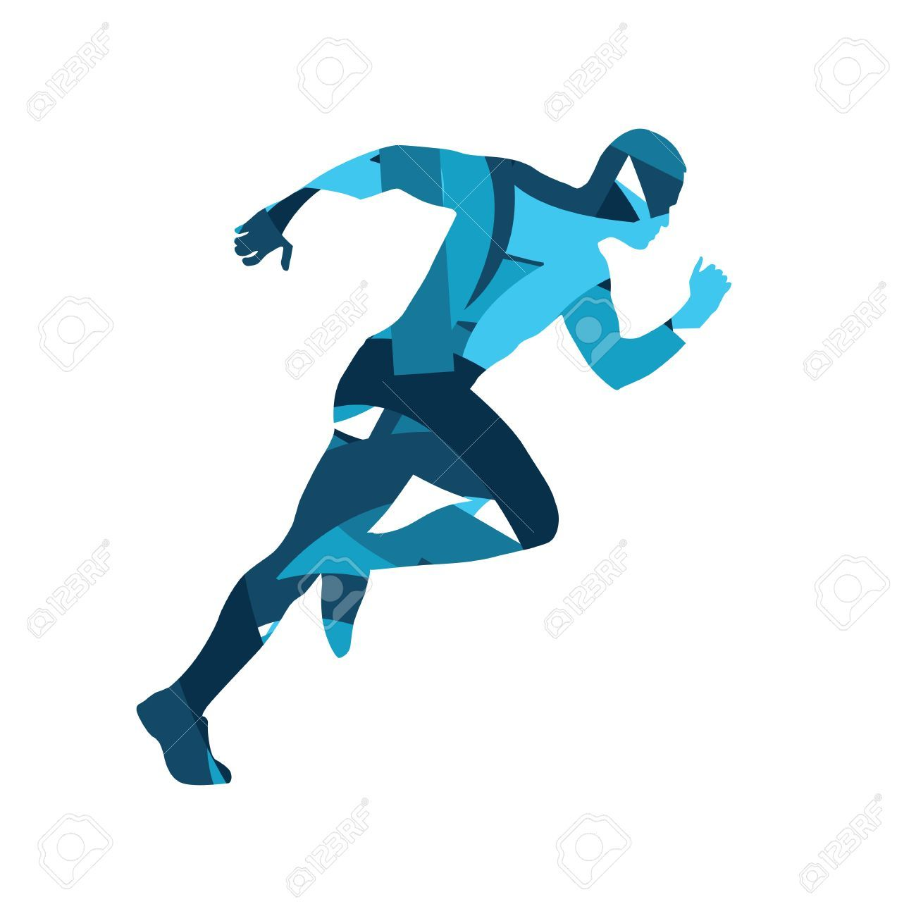 Athlete clipart approach. Abstract blue vector runner