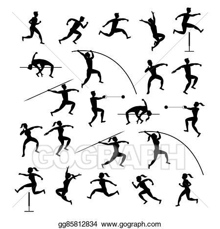 Vector art sports athletes. Athletic clipart athletics games