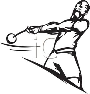 Athletic clipart athletics event. An athlete throwing a