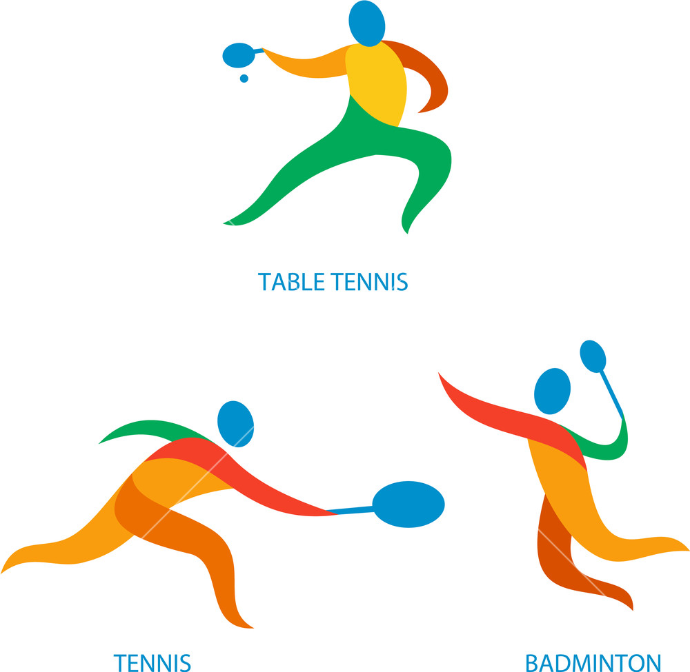 Athlete clipart badminton. Icon illustration showing playing
