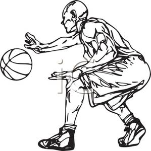 A black and white. Athlete clipart basketball