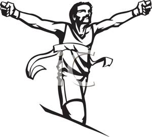 A cartoon of an. Athletic clipart black and white