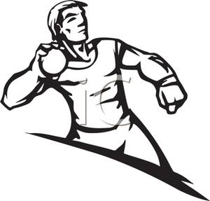 Athletics station . Athletic clipart black and white