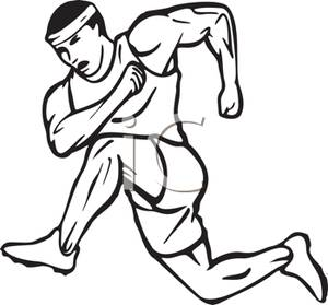 A black and white. Athletic clipart race