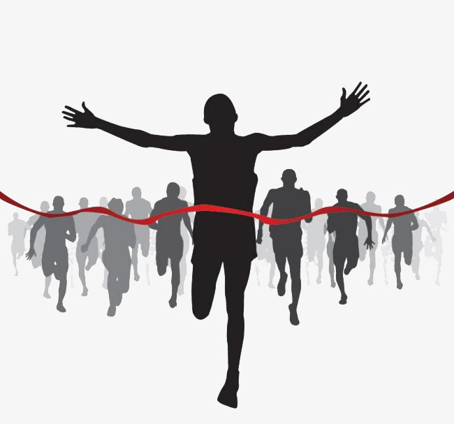 Silhouette of athletes crossing. Athlete clipart competition