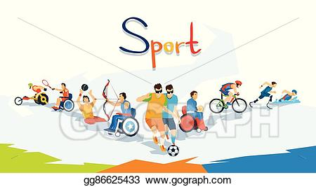 Athlete clipart competition. Vector art disabled athletes