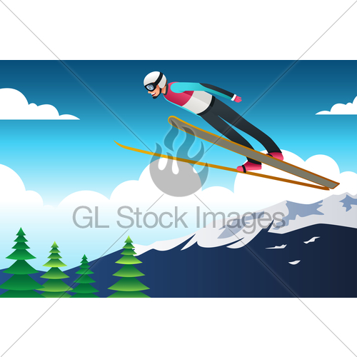 Ski jumping in illustration. Athlete clipart competition