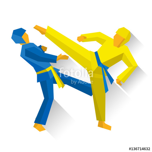 Athlete clipart competition. Two taekwondo fighters isolated