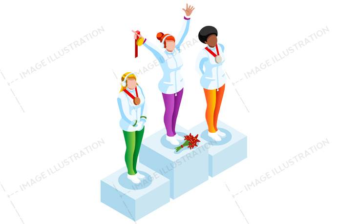 Podium winter sports image. Athlete clipart competition