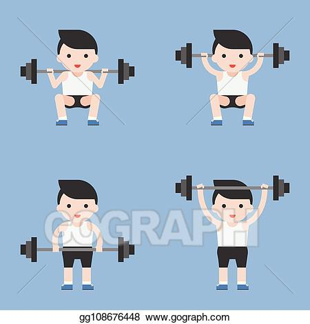 Vector character weightlifter with. Athlete clipart cute