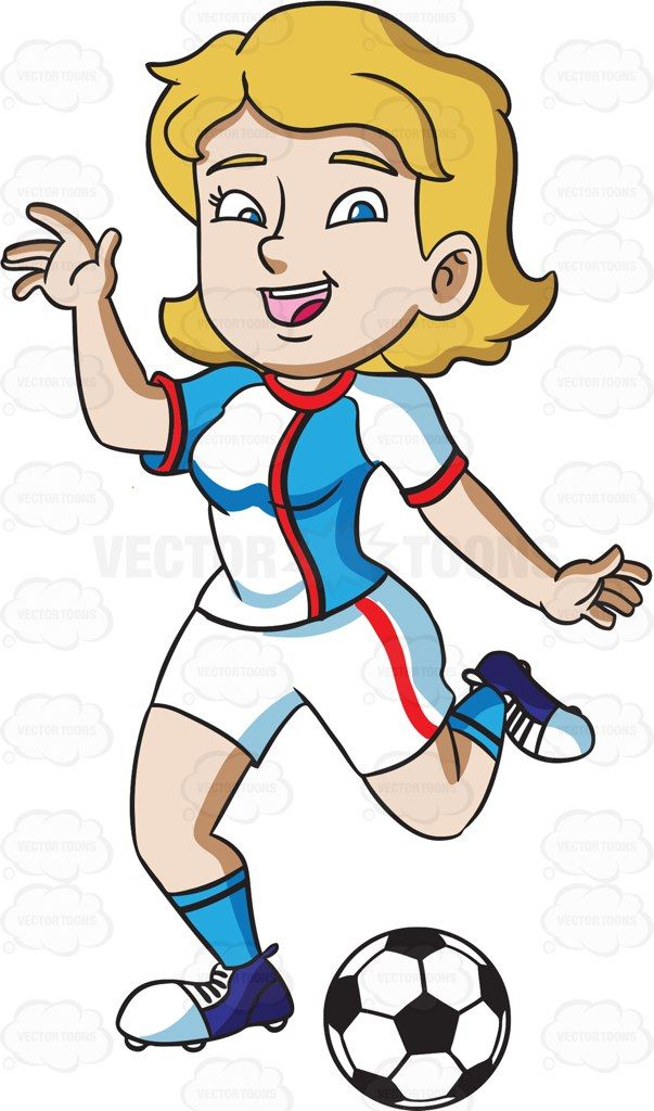 A happy kicking soccer. Athlete clipart female athlete