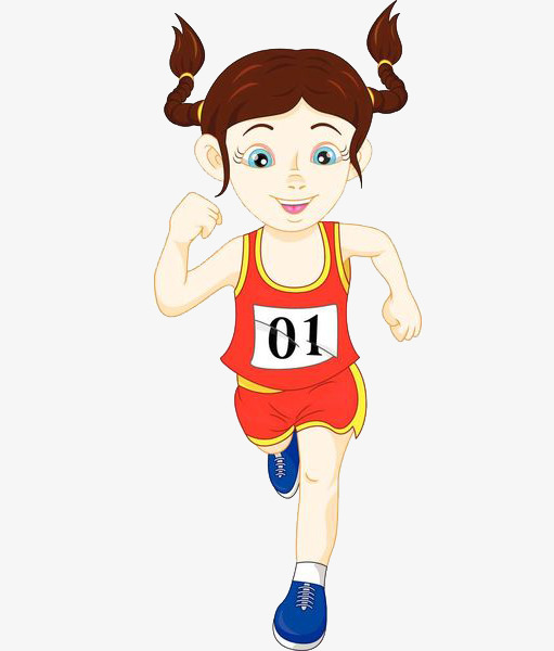 Number cartoon hand drawing. Athlete clipart female athlete