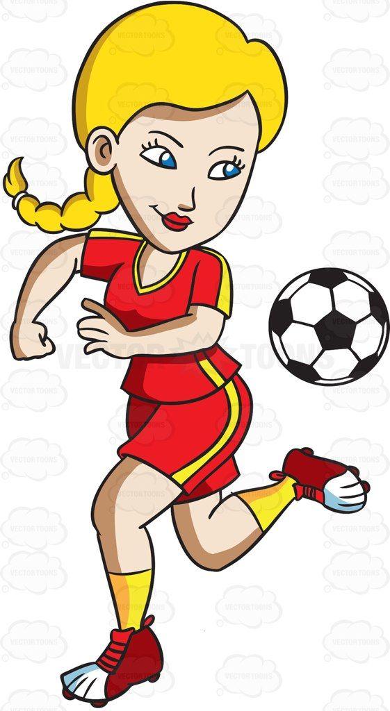 Athlete clipart female athlete. A kicking ball behind