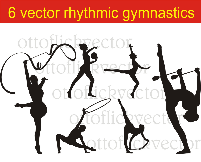 Rhythmic gymnastics silhouettes vector. Athlete clipart individual sport
