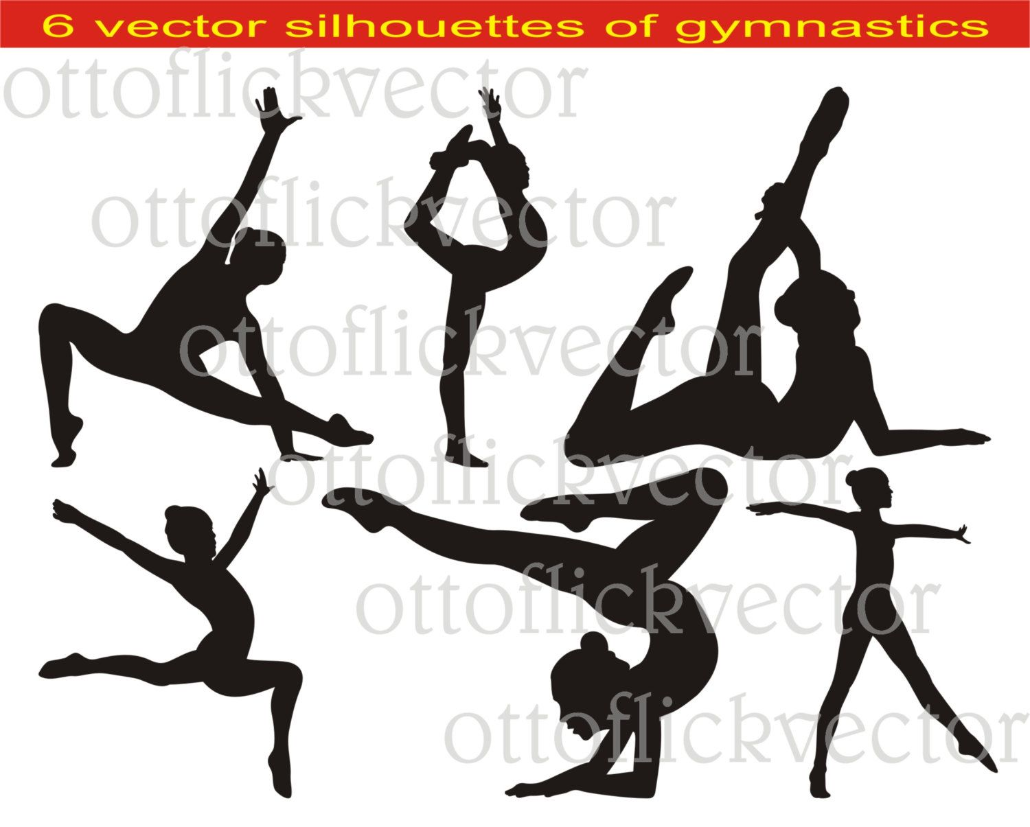 Athlete clipart individual sport. Gymnastic silhouettes vector eps