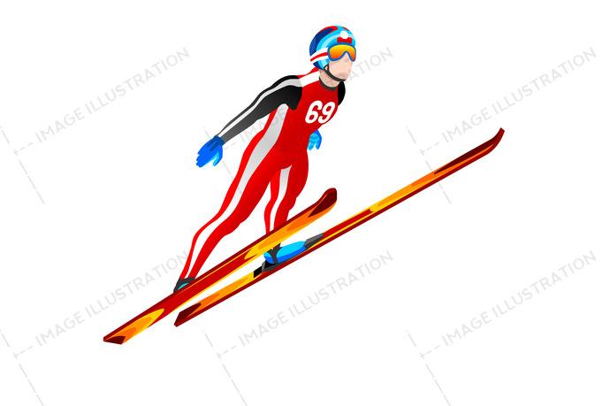 Ski jump winter sports. Athlete clipart individual sport