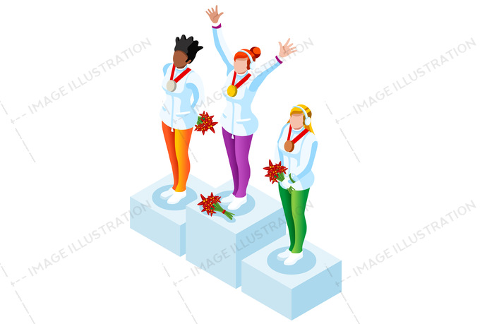 Winter sports winners image. Podium clipart olympics