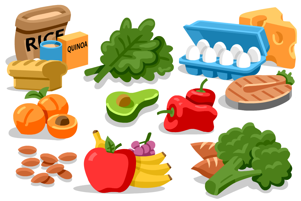 Healthy eating for runners. Luncheon clipart enough food