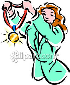 Athlete clipart olympic athlete. A female holding gold