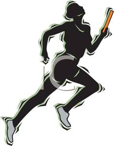 Athlete clipart race. A colorful cartoon of