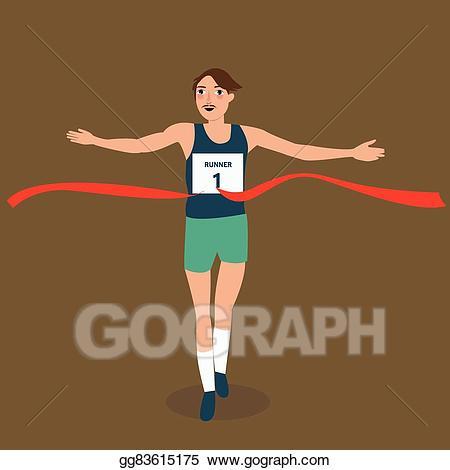 Athlete clipart success. Vector illustration man running