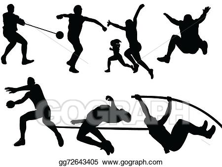 Vector stock sport silhouette. Athlete clipart track and field