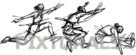 Sketchy eps file vector. Athlete clipart triple jump