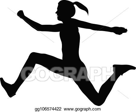 Jumping clipart athletic person. Vector stock triple jump