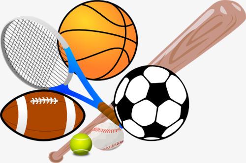 Cartoon sports equipment motion. Athletic clipart athletic meet