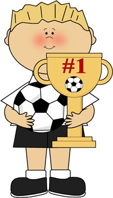 Girl with soccer trophy. Athletic clipart boys