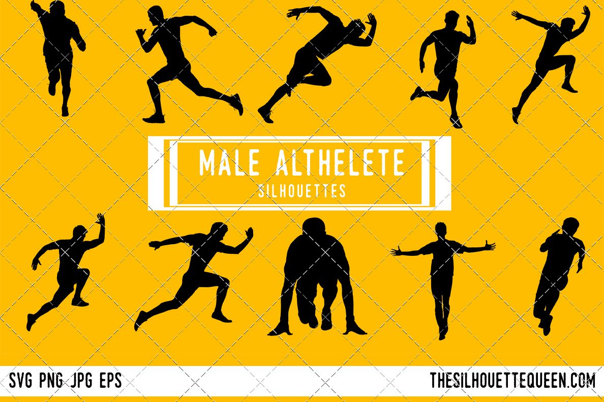 Athletic clipart boys. Man runner silhouette male