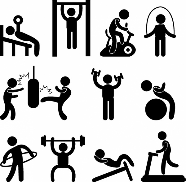 Athletic clipart exercise. Silhouette clip art at