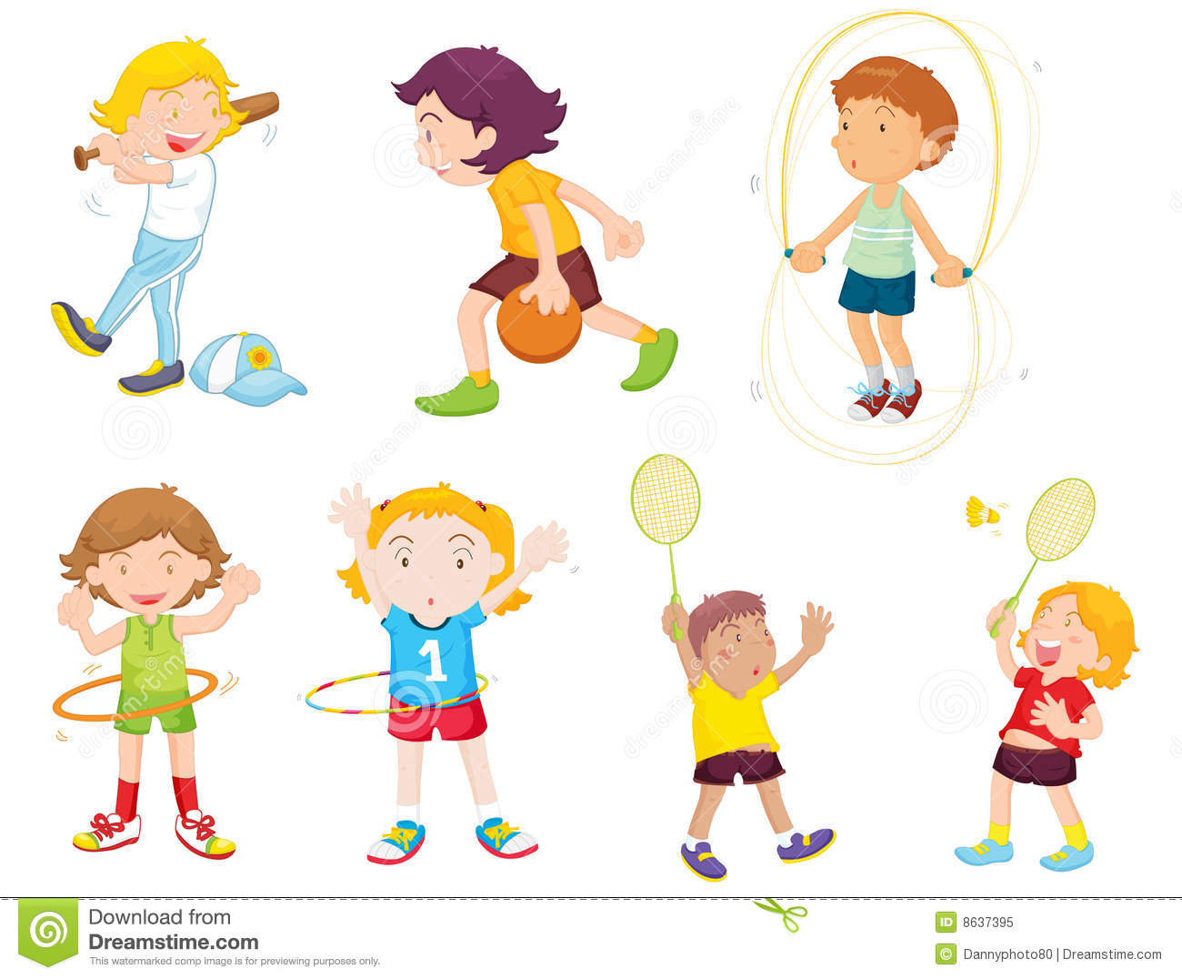 collection of children. Athletic clipart exercise