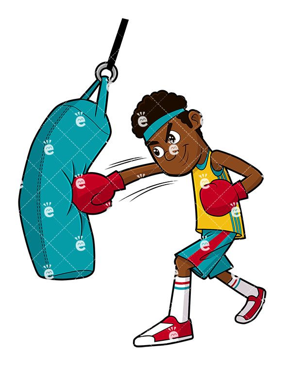 Boxing clipart cute. Black man doing a