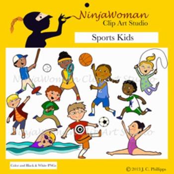 Sports kids clip art. Children clipart sport
