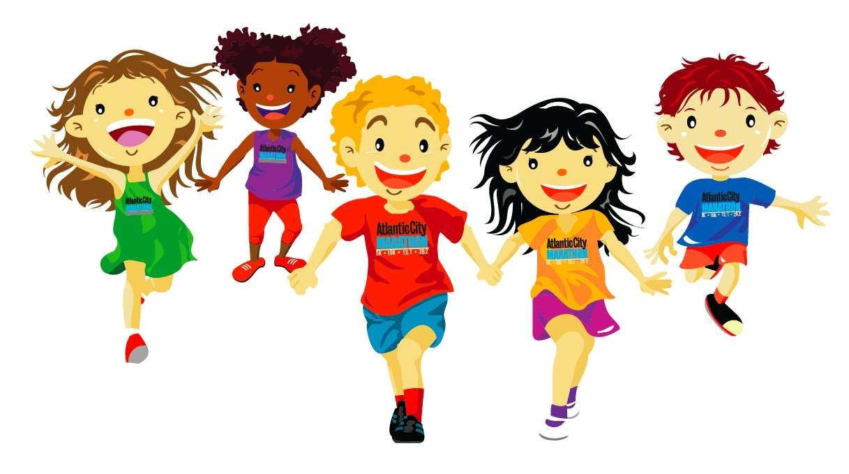 Kids running a letters. Athletic clipart race