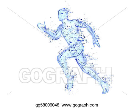 Stock illustration liquid artwork. Athletic clipart running man