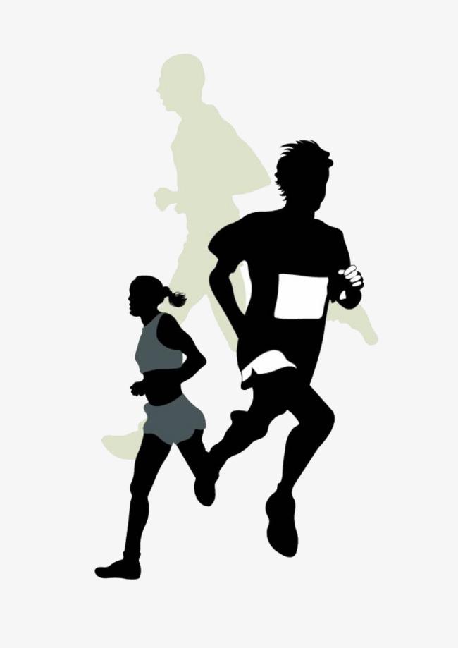 Men and women cartoon. Athletic clipart running man