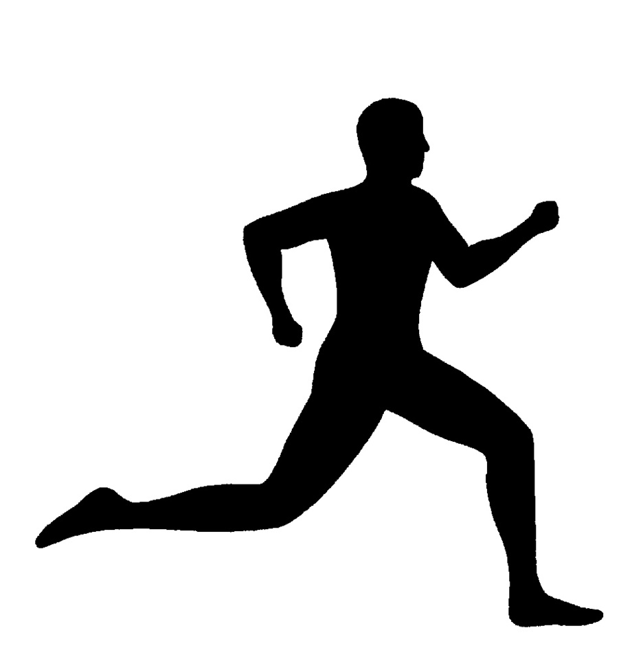 Athletic clipart running man. Silhouette clip art free