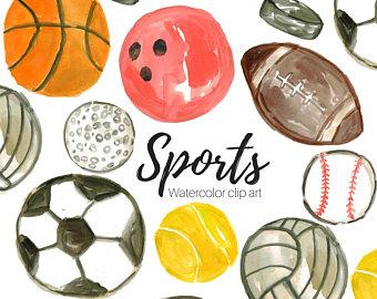 Athletic clipart sport activity. Clip art etsy watercolor