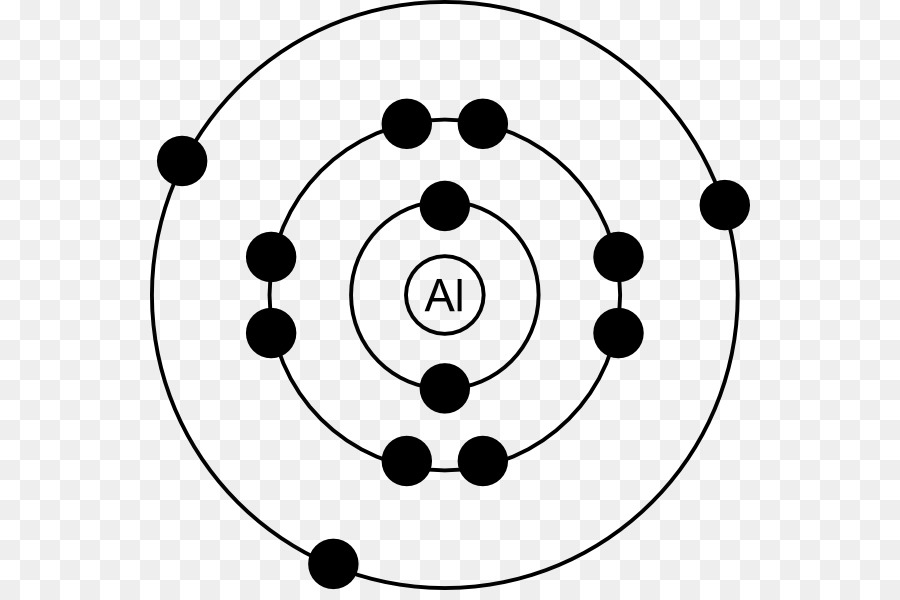 Aluminium bohr model electron. Atom clipart black and white