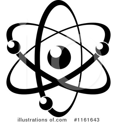 Illustration by vector tradition. Atom clipart black and white