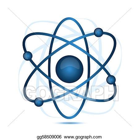 Eps vector stock illustration. Atom clipart blue
